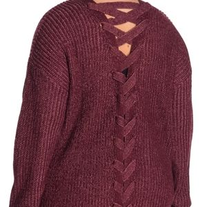 Derek Heart Maroon Lace-up Back Knit Cardigan